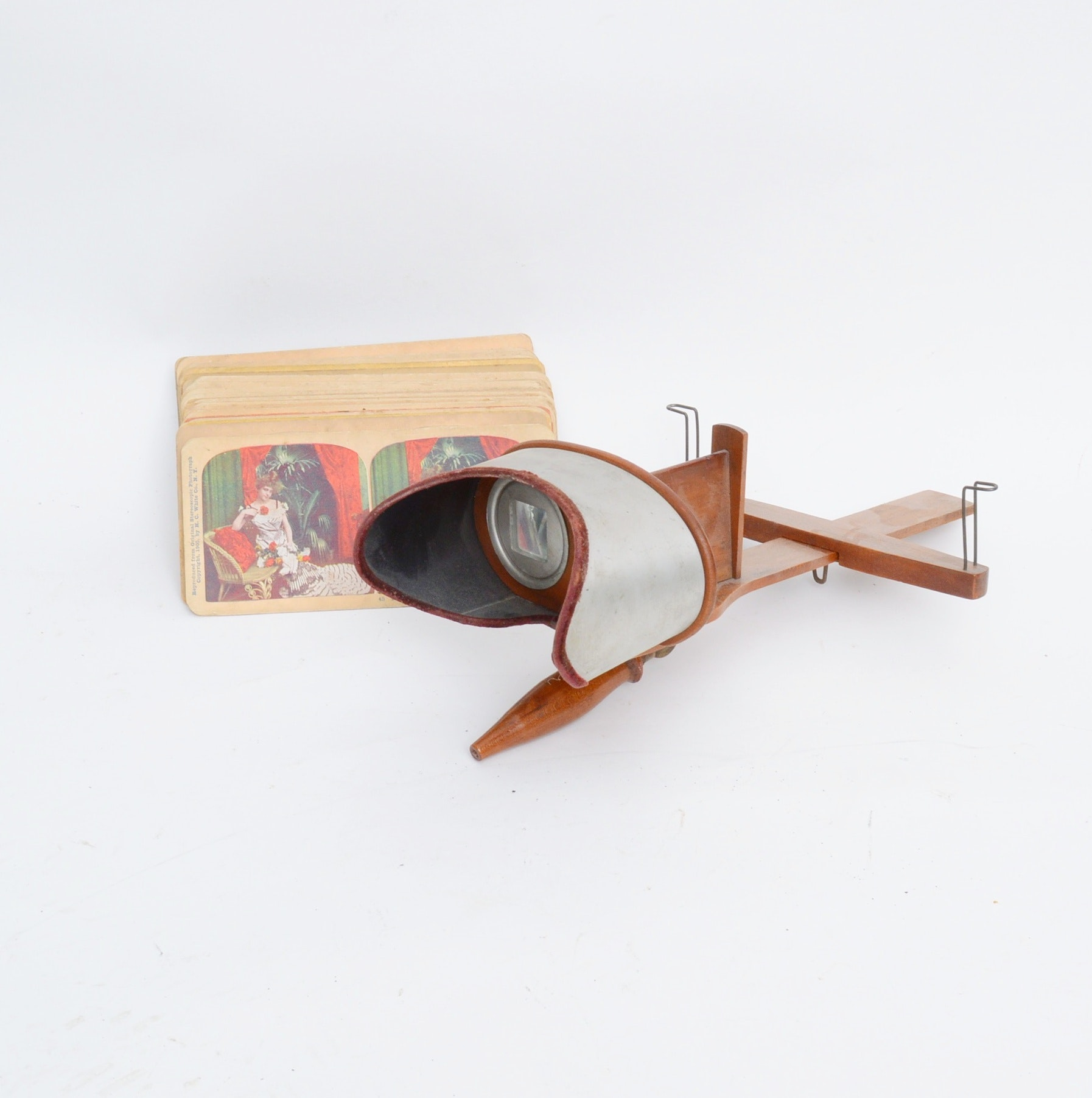 Early Stereoscope with Over 40 Viewing Cards