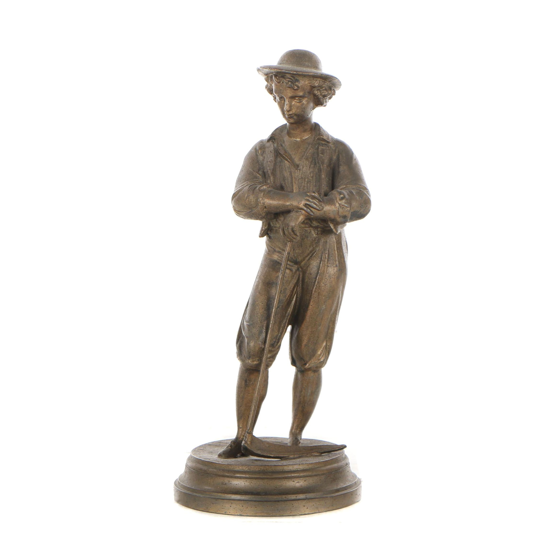 French Peasant Spelter Sculpture, Early 20th Century