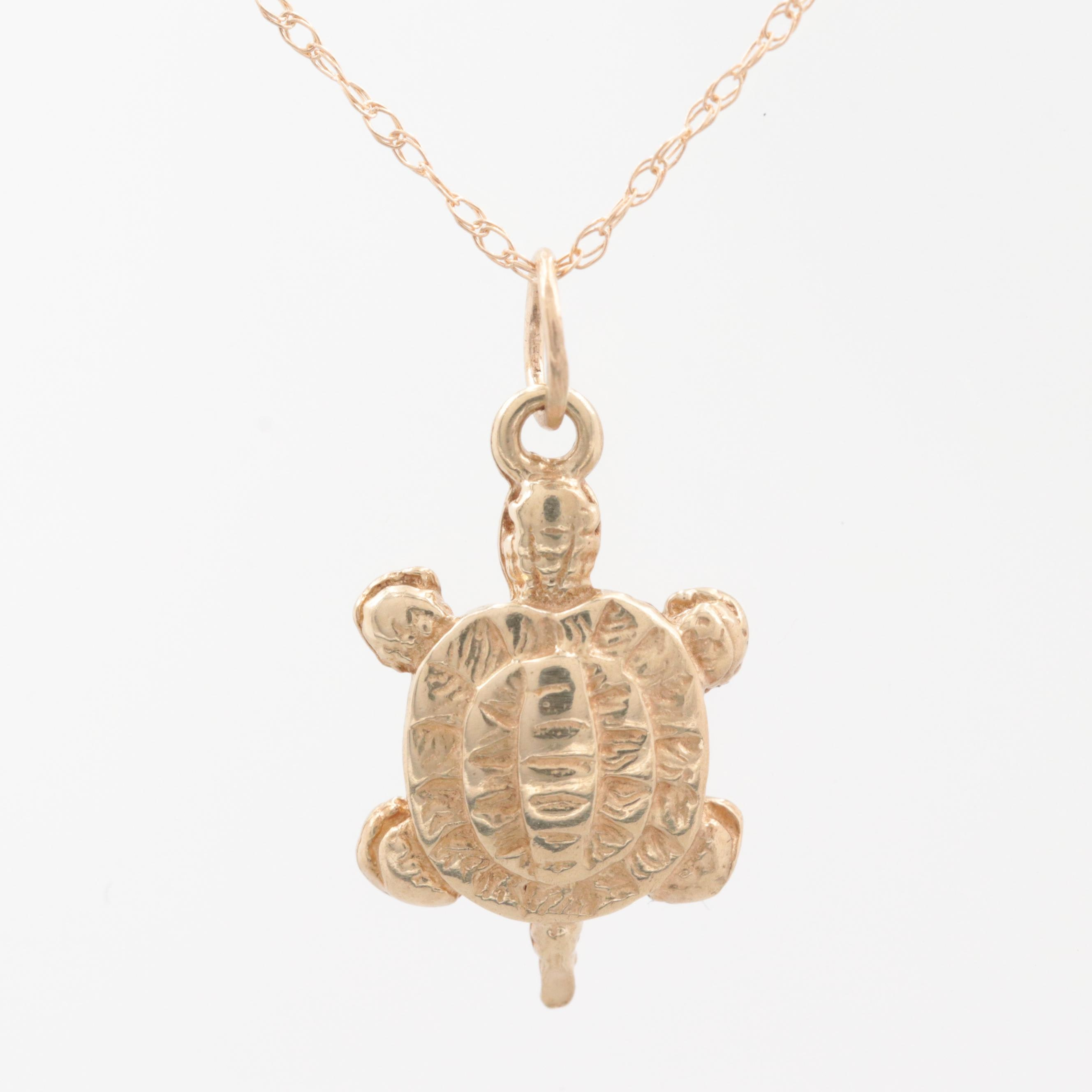 10K Yellow Gold Turtle Pendant on 14K Gold Chain Necklace
