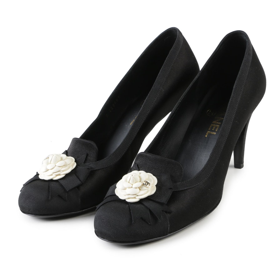 b49fad7e0b Chanel Black Satin and Grosgrain Camellia Dress Pumps, Made in Italy ...