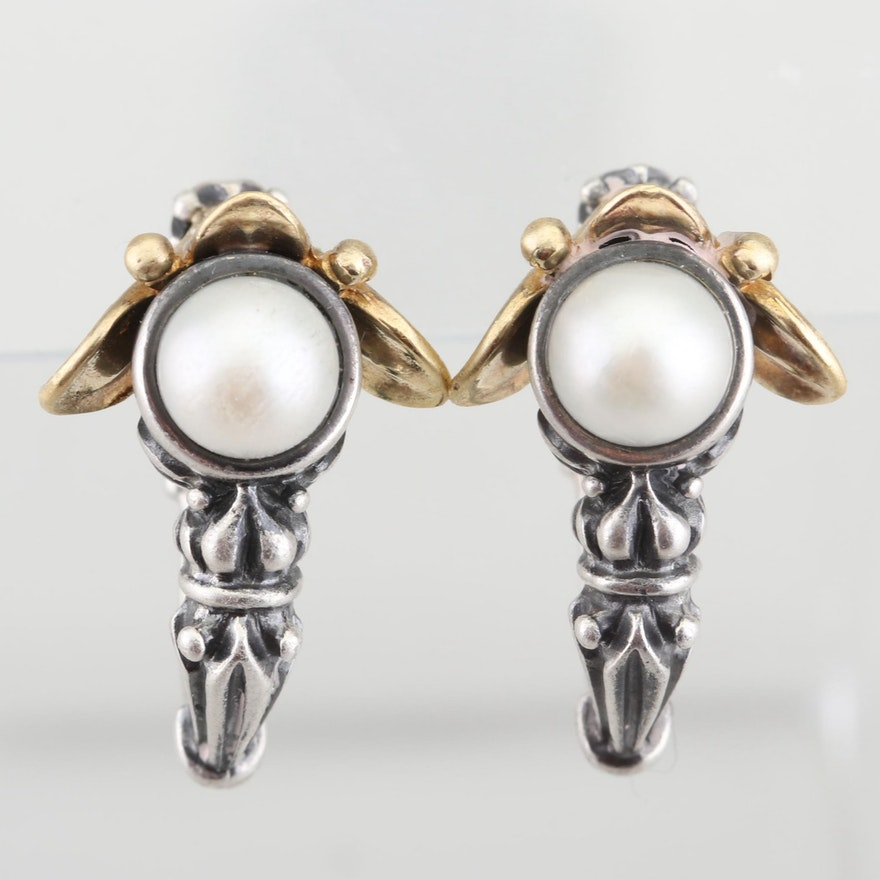 4fef3424e Lagos Caviar Sterling Silver, 18K Gold, and Akoya Saltwater Pearl Earrings  ...