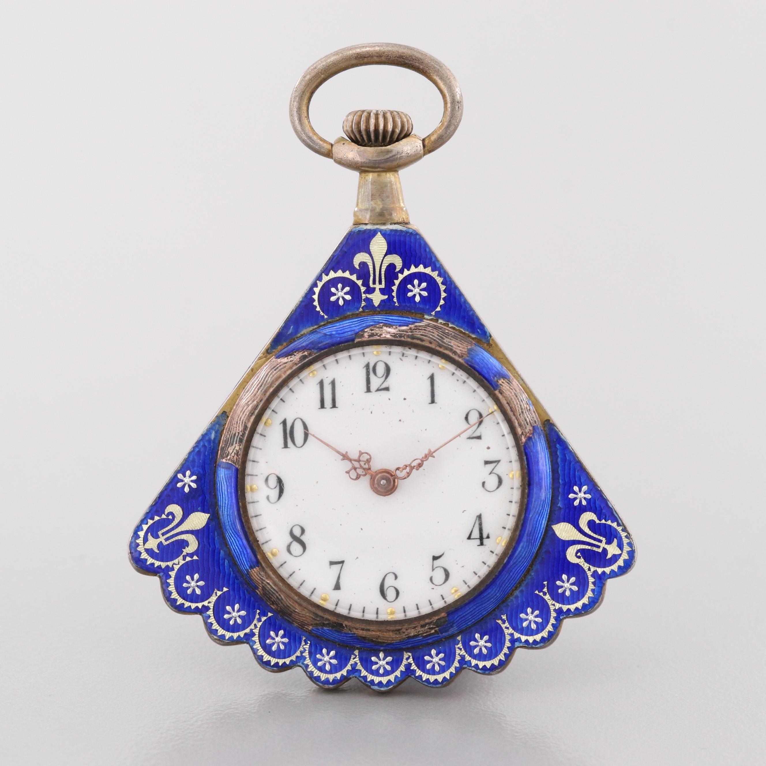 Vintage 800 Silver Fan Shaped Enamel Open Face Pocket Watch