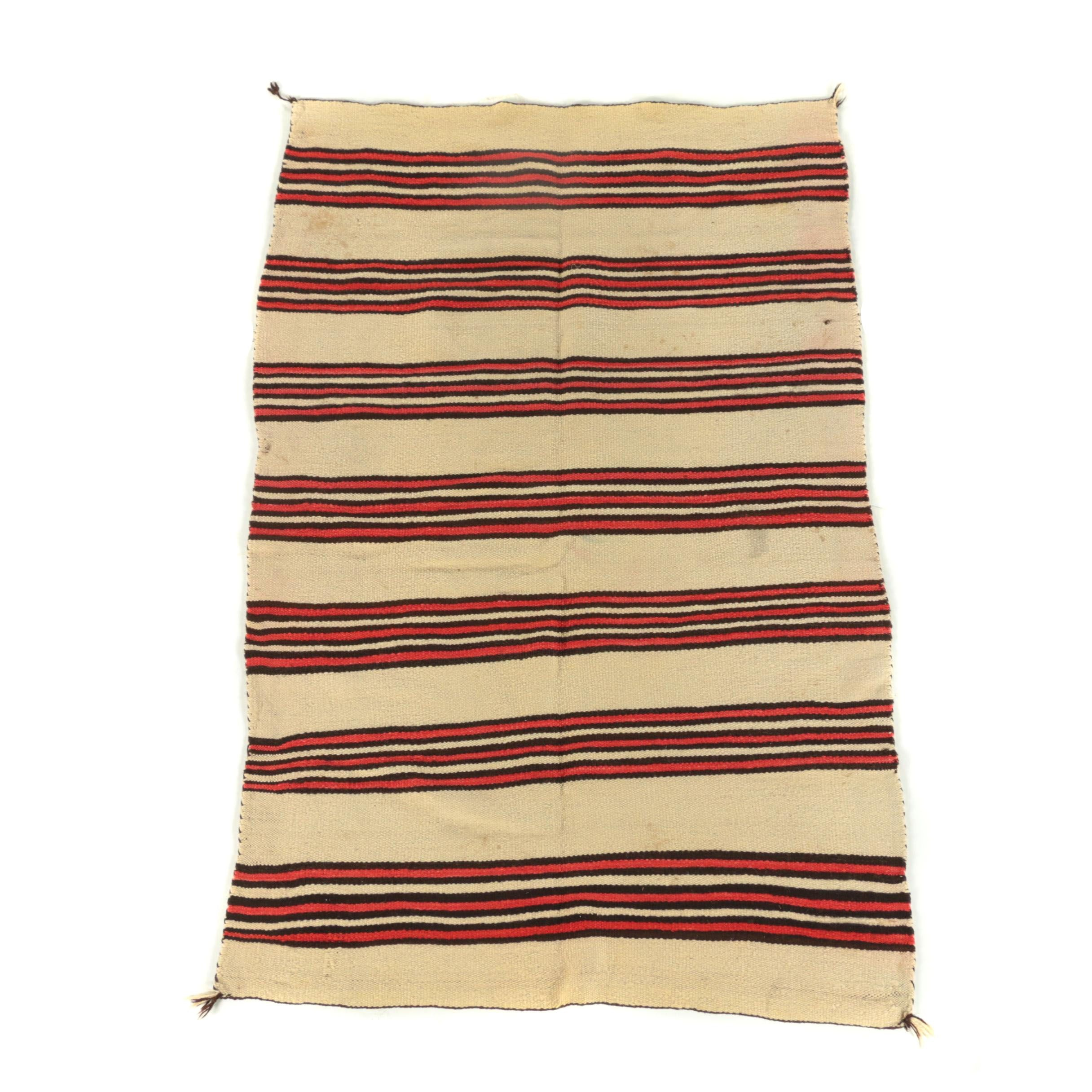 Handwoven Pueblo Indian Style Wool Blanket, Early 20th Century