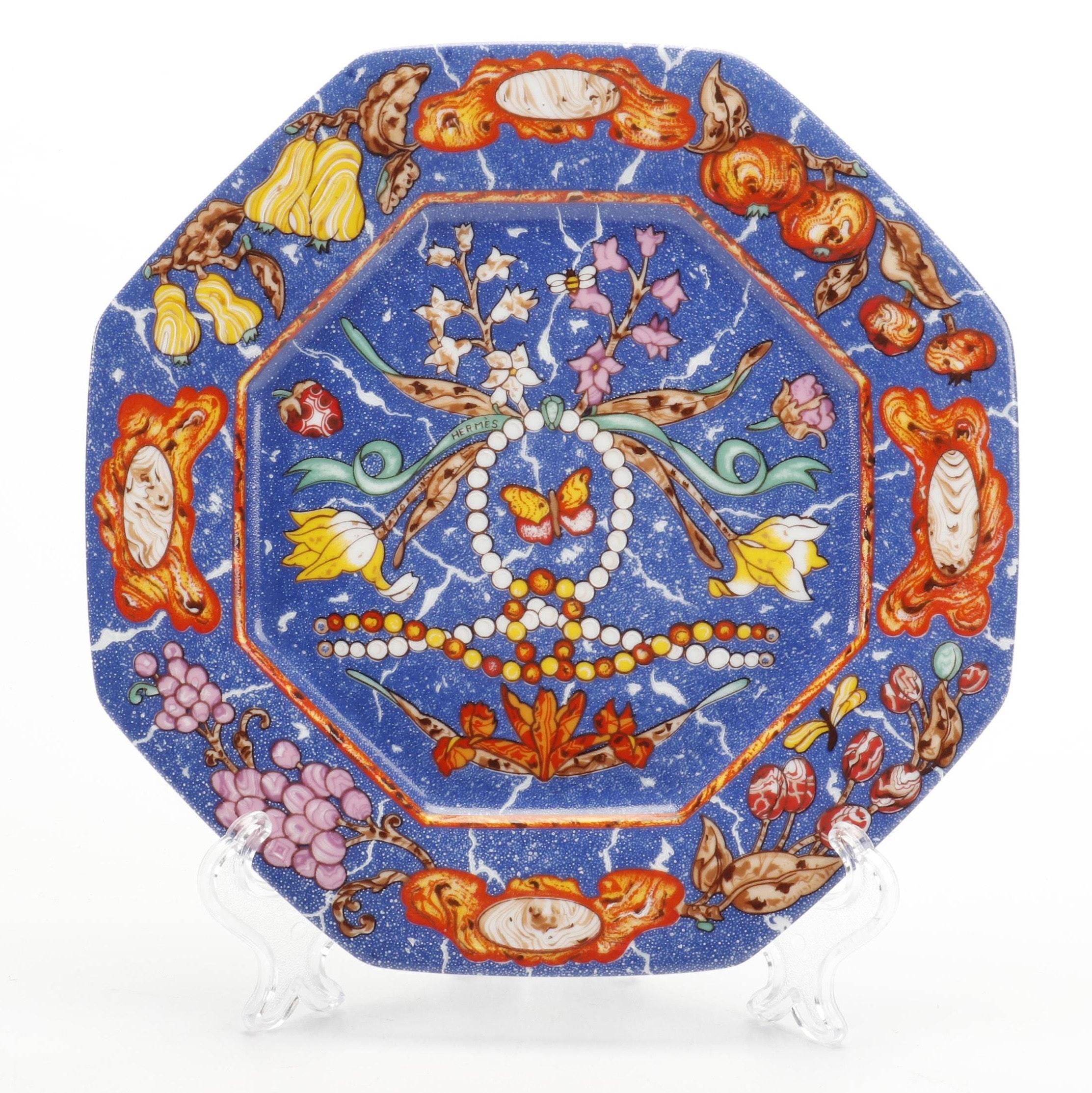 """Hermès Limoges """"Marqueterie"""" Porcelain Salad Plate"""
