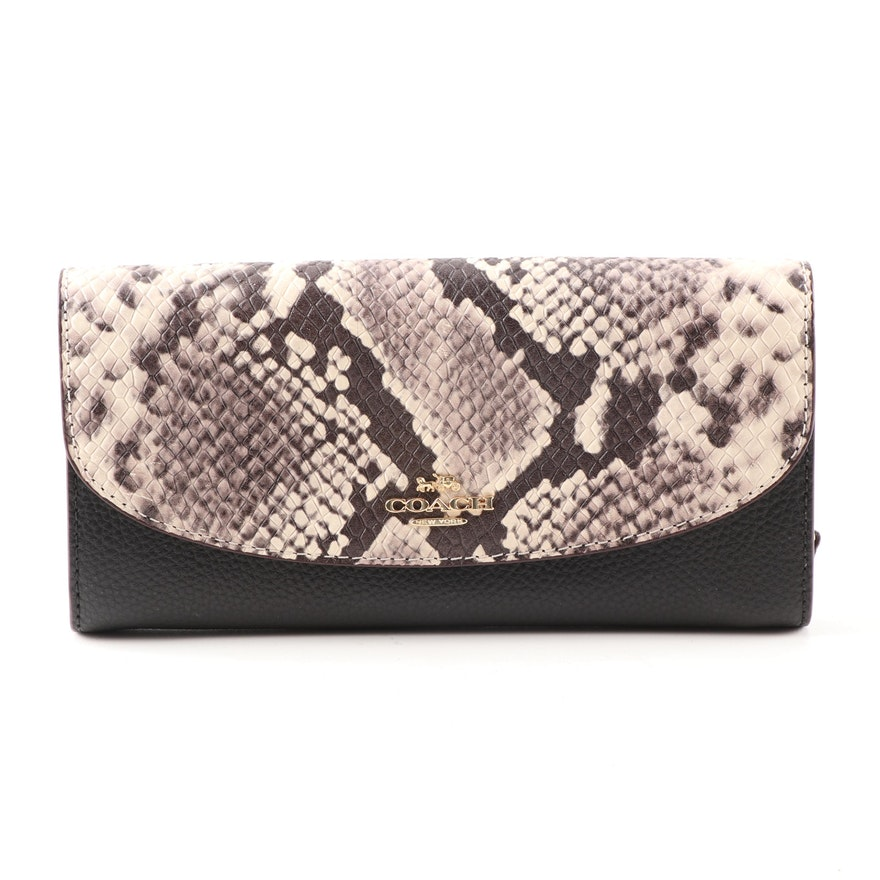 b61c8b90d96d Coach Python Print and Black Leather Slim Envelope Wallet   EBTH