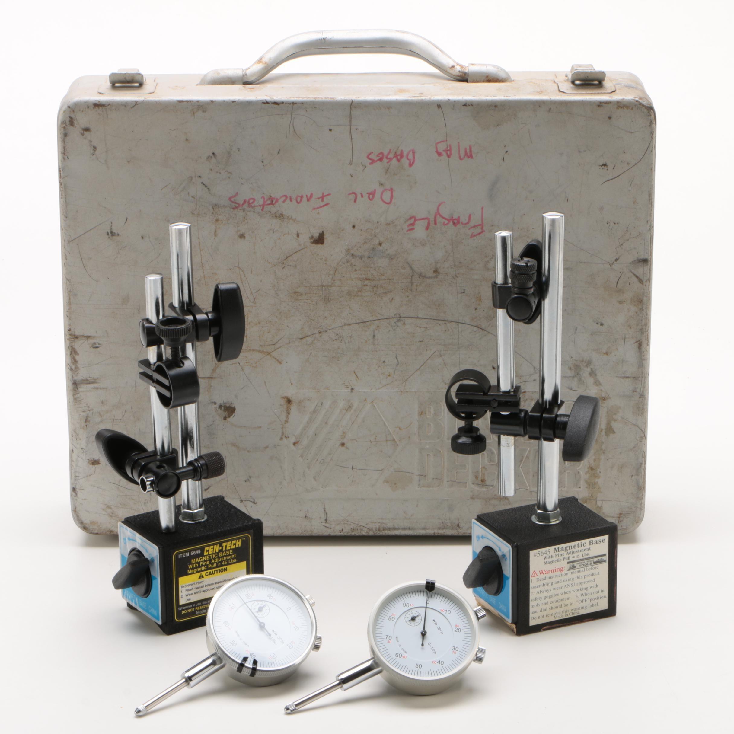 Cen-Tech Fine Adjustment Magnetic Bases with Black & Decker Case