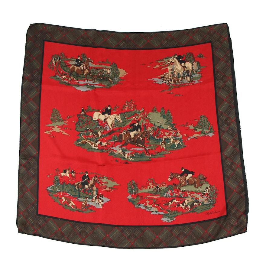 fe783fcfca7d2 Polo Ralph Lauren Hunting Print Silk Scarf with Plaid Border   EBTH