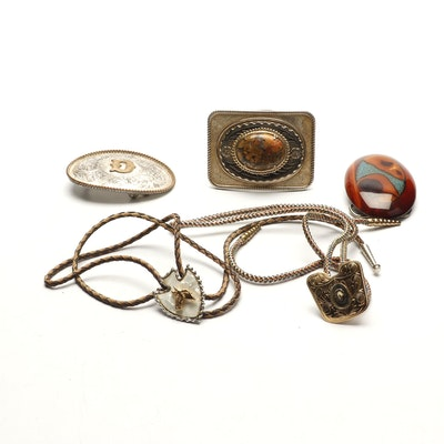 2b490df450c Western Themed Belt Buckles and Bolo Ties Including Montana Silversmiths  Buckle