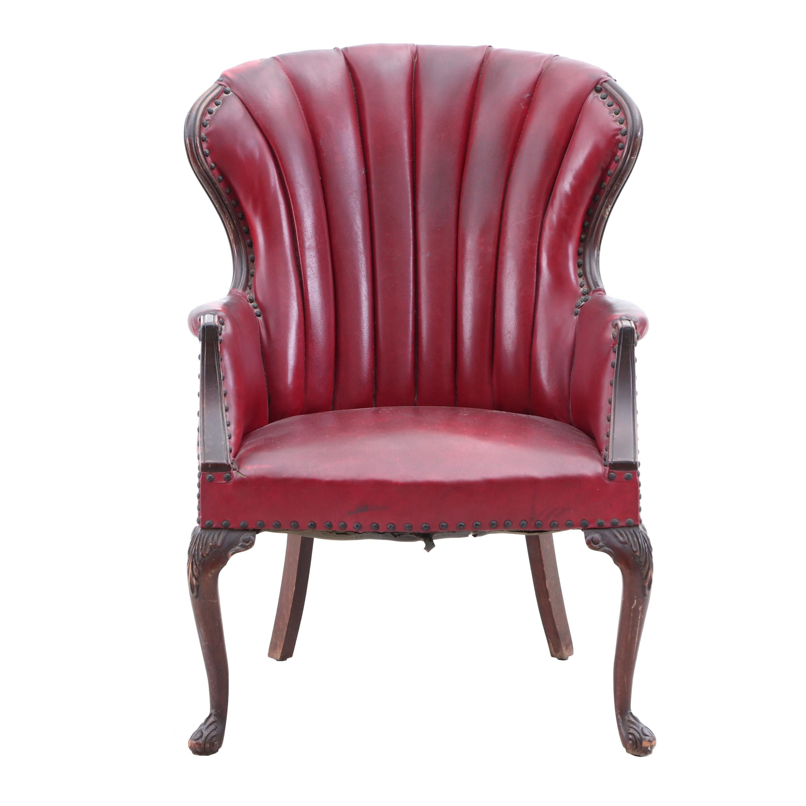 Antique Channel Tufted Neoclassical Wingback Chair