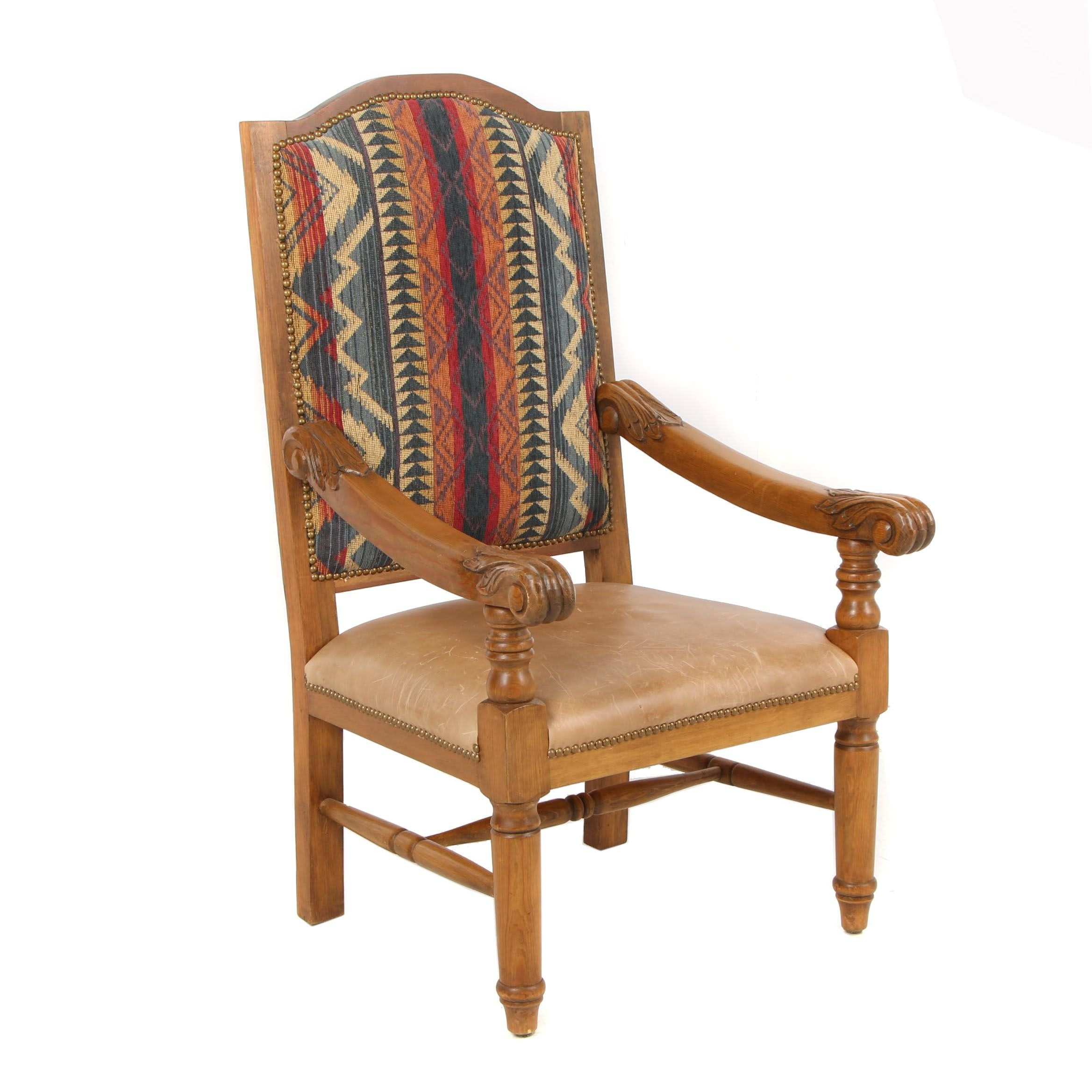 Leather and Kilim Upholstered Armchair