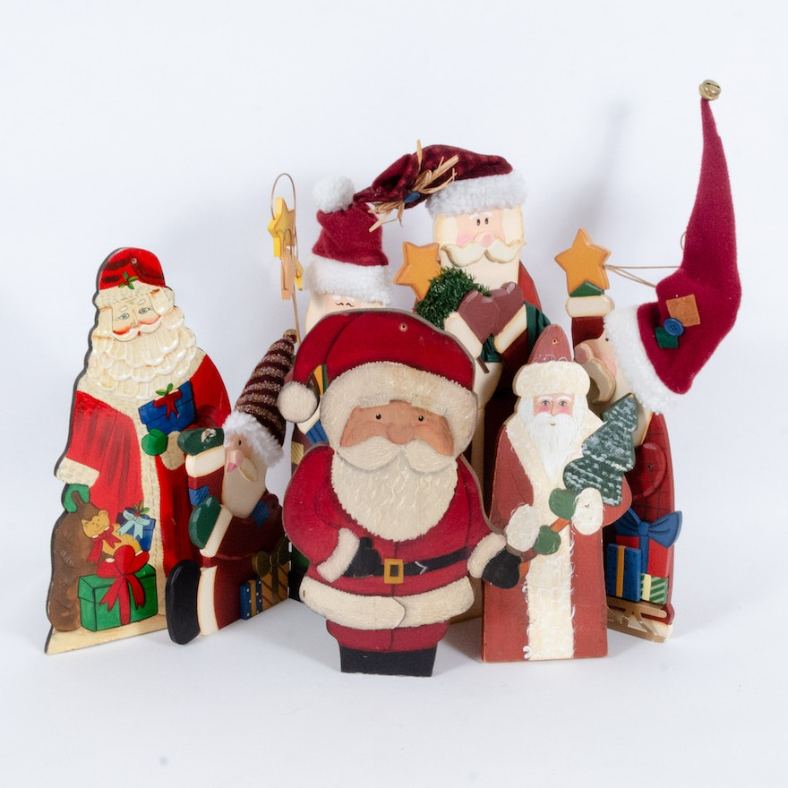 Painted Wooden Santa Table Decorations