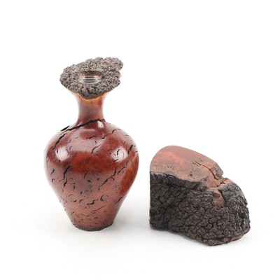 Bruce Bernson Turned Burl Wood Vase and Lidded Box