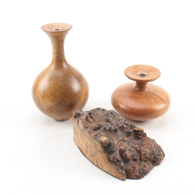 Bruce Bernson Turned Myrtle and Maple Burl Vases with Lidded Box