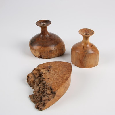 Bruce Bernson Turned Burl Wood Vases and Lidded Box, 1988-1989