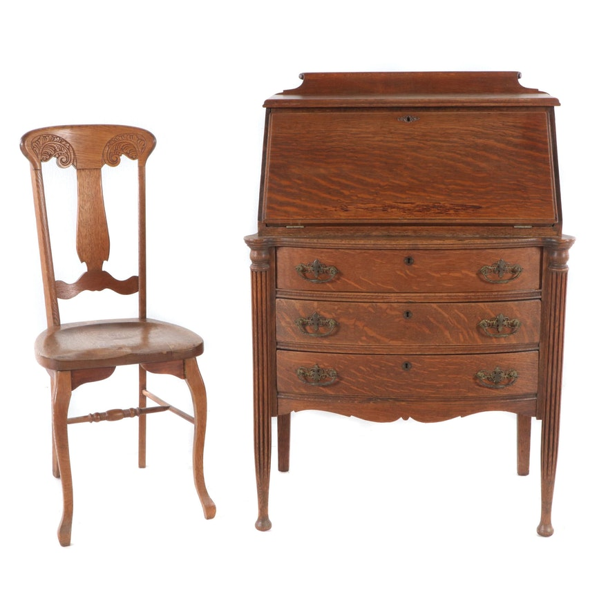 Enjoyable Antique Oak Desk With Chair Gmtry Best Dining Table And Chair Ideas Images Gmtryco