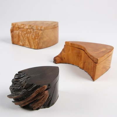 Bruce Bernson Burl Wood Lidded Boxes