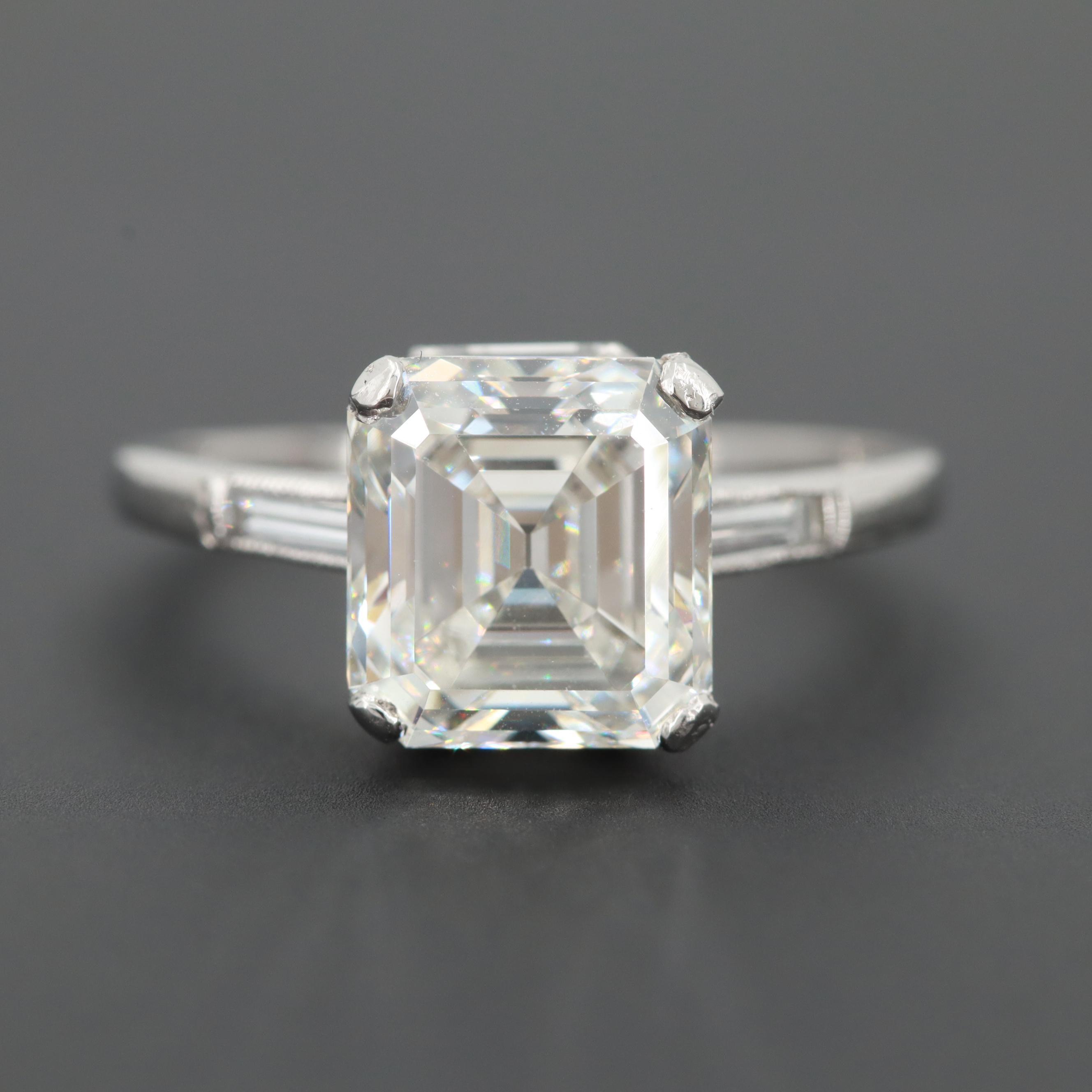 Platinum 3.37 CTW Diamond Ring with GIA Report