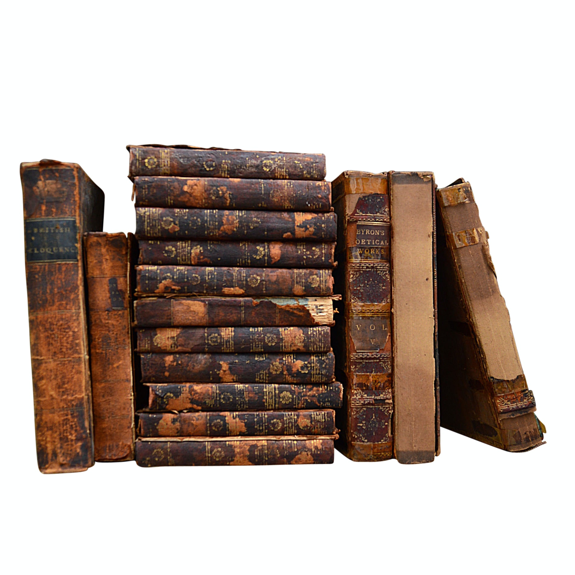 Leather Bound Books with 11-Volume Set, Early to Mid 19th Century