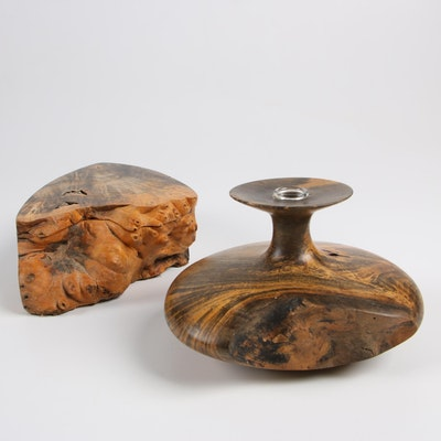 Bruce Bernson Buckeye Burl Vase and Lidded Box