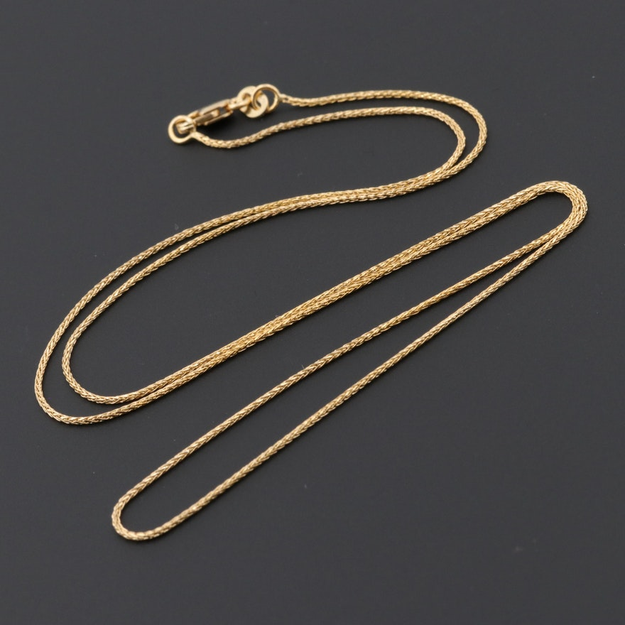a07fb4aebfc3 14K Yellow Gold Spiga Chain Necklace   EBTH