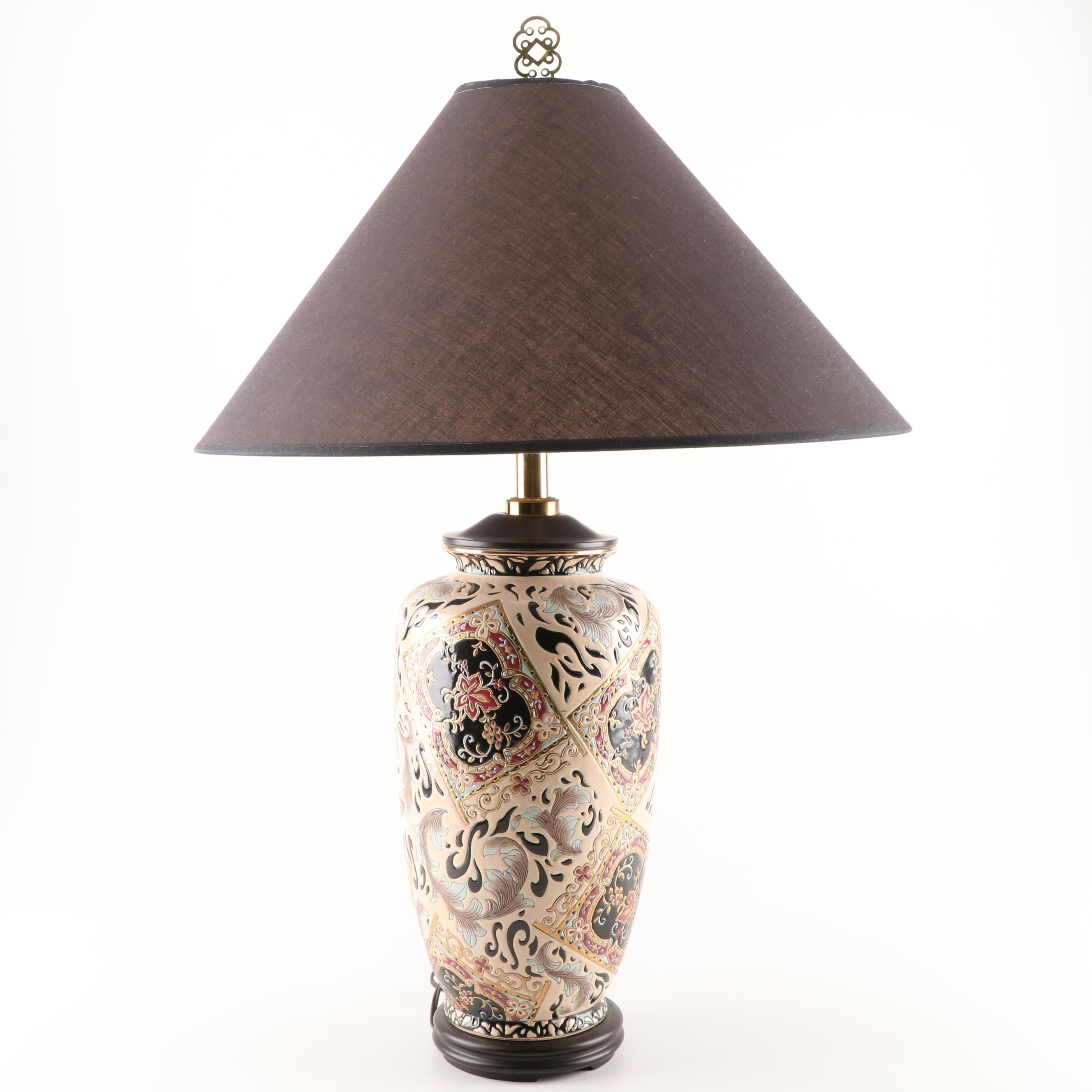 Hand Painted Ceramic Enameled Table Lamp