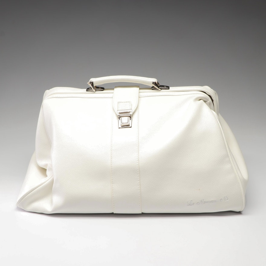 Le Nouveau Né White Faux Leather Weekender Bag Made In Italy