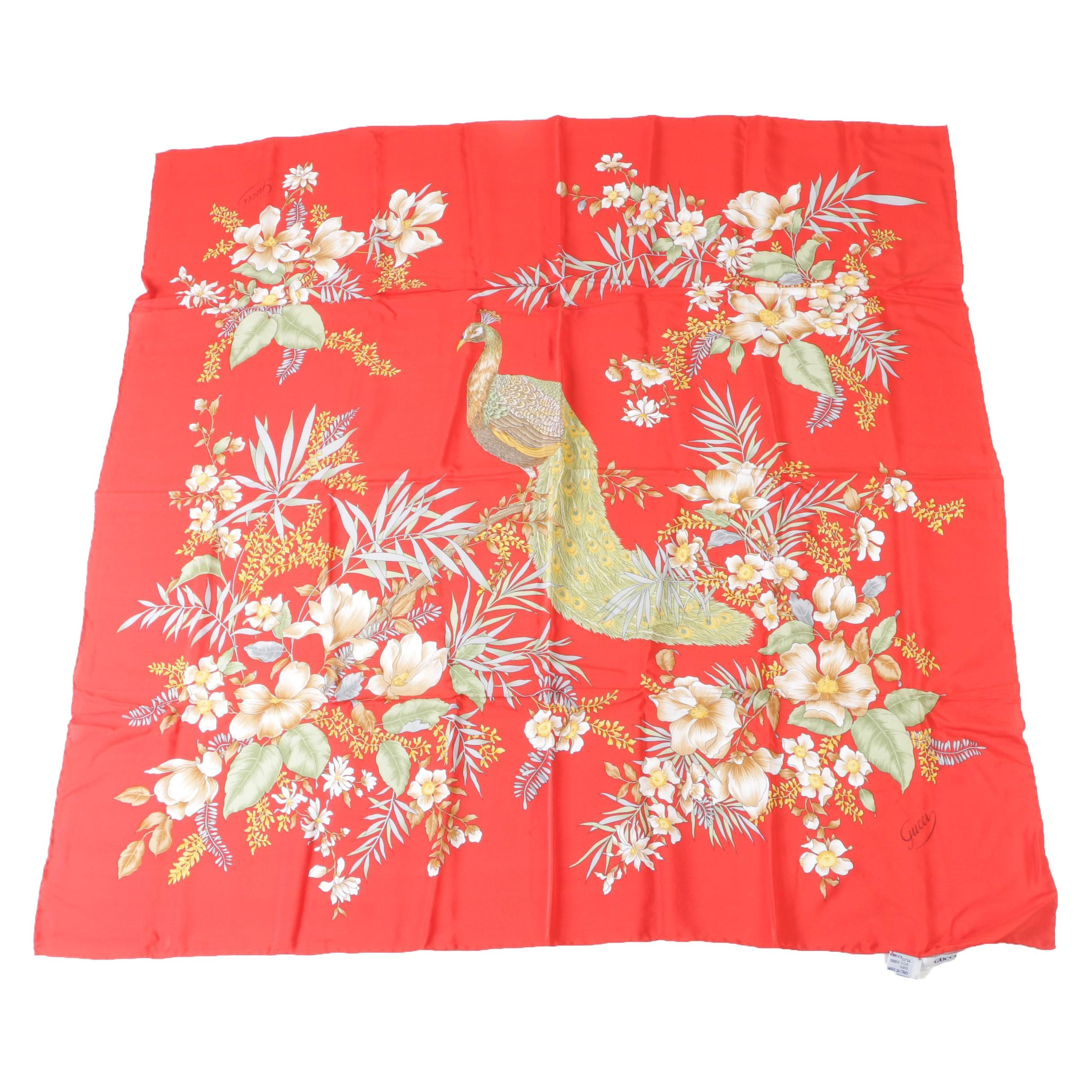 Gucci Red Silk Carré Scarf with Peacock and Clematis Flowers, Made in Italy