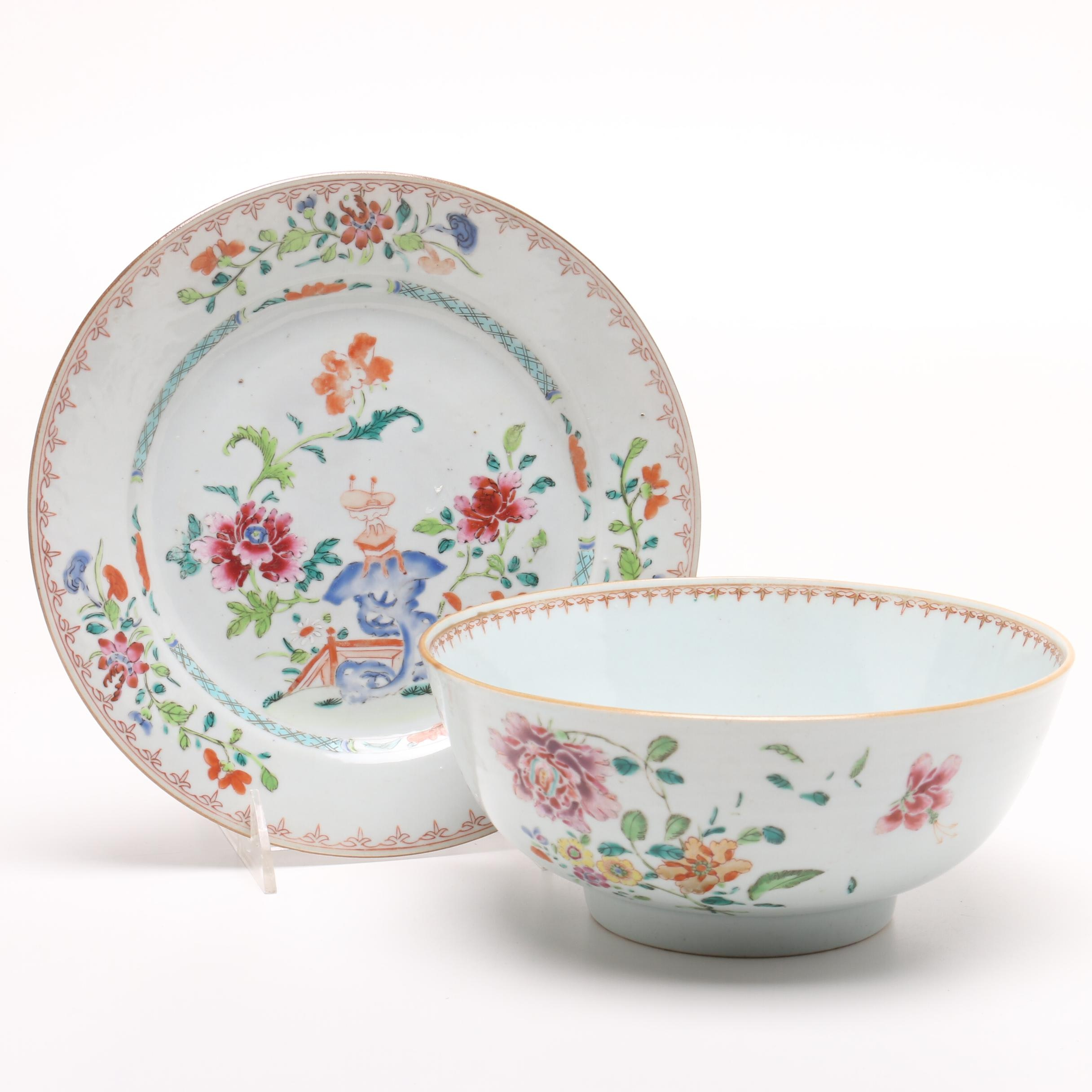 Chinese Export Porcelain Bowl and Plate, 18th Century