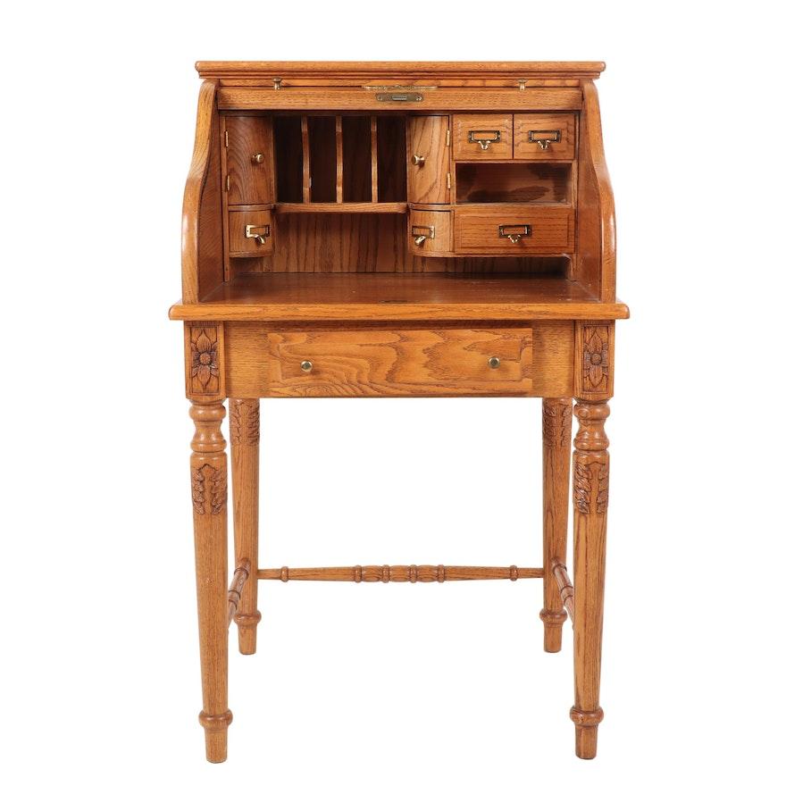 Vintage Oak Roll Top Secretary Desk By Eagle Craft 20th Century