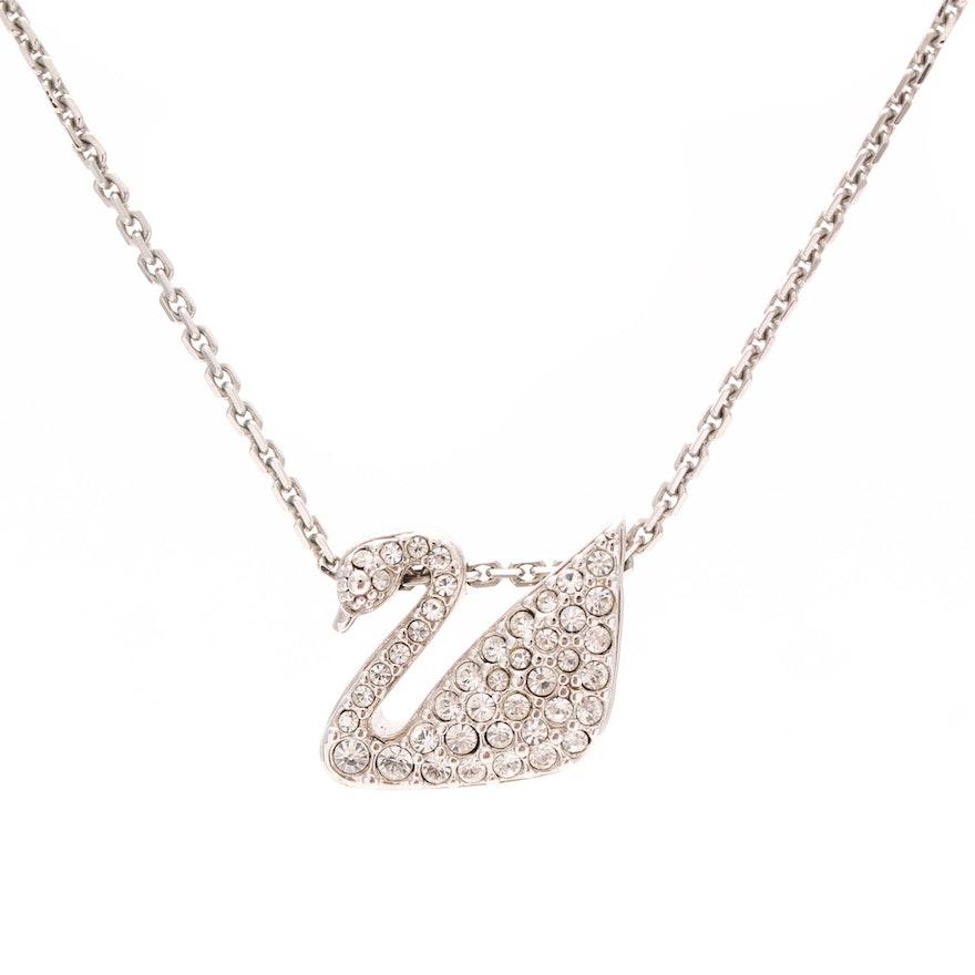 f6298414d824 Swarovski Crystal Pave Swan Pendant Necklace   EBTH