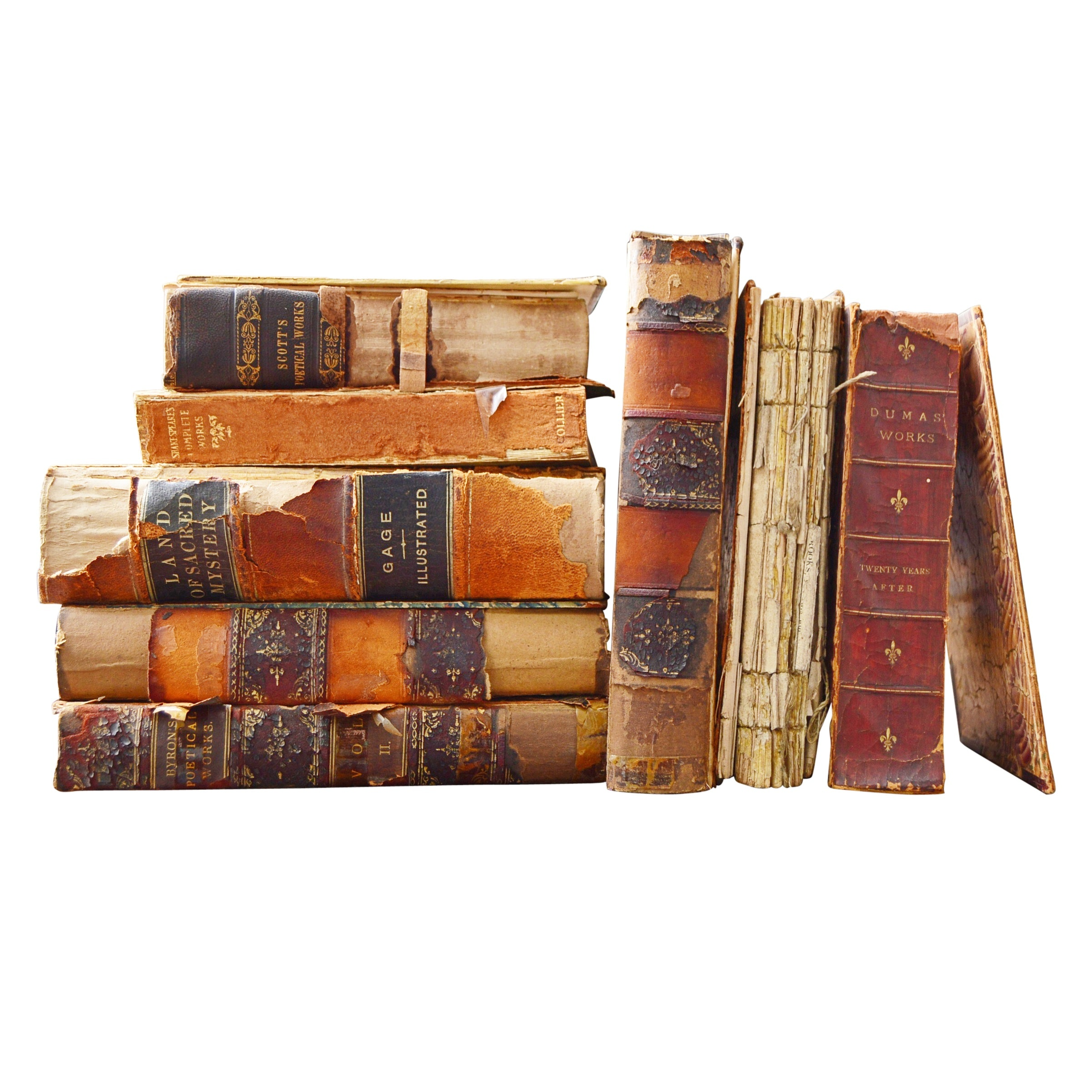 Leather Bound Books with Poetry and Shakespeare, Early to Mid 19th Century
