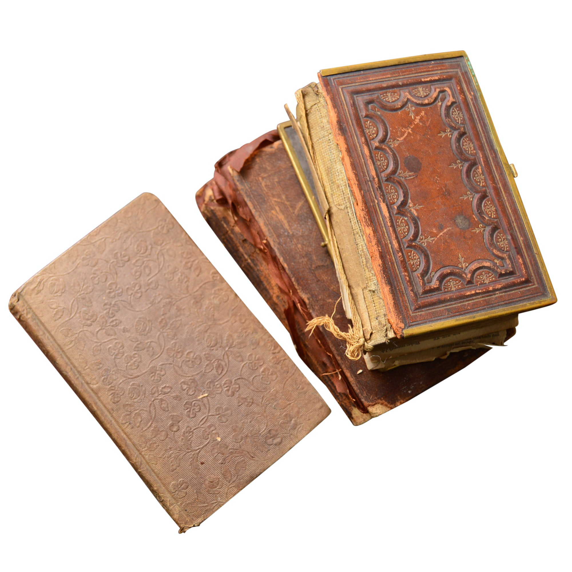 """19th Century Leather-Bound Religion Books with 1849 """"Book of Mormon"""""""