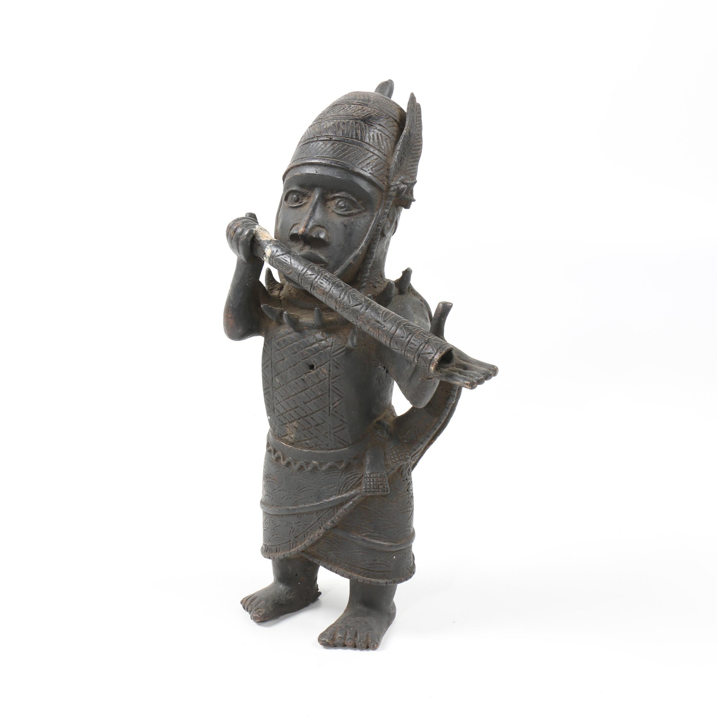 Benin Bronze Sculpture of a Musician