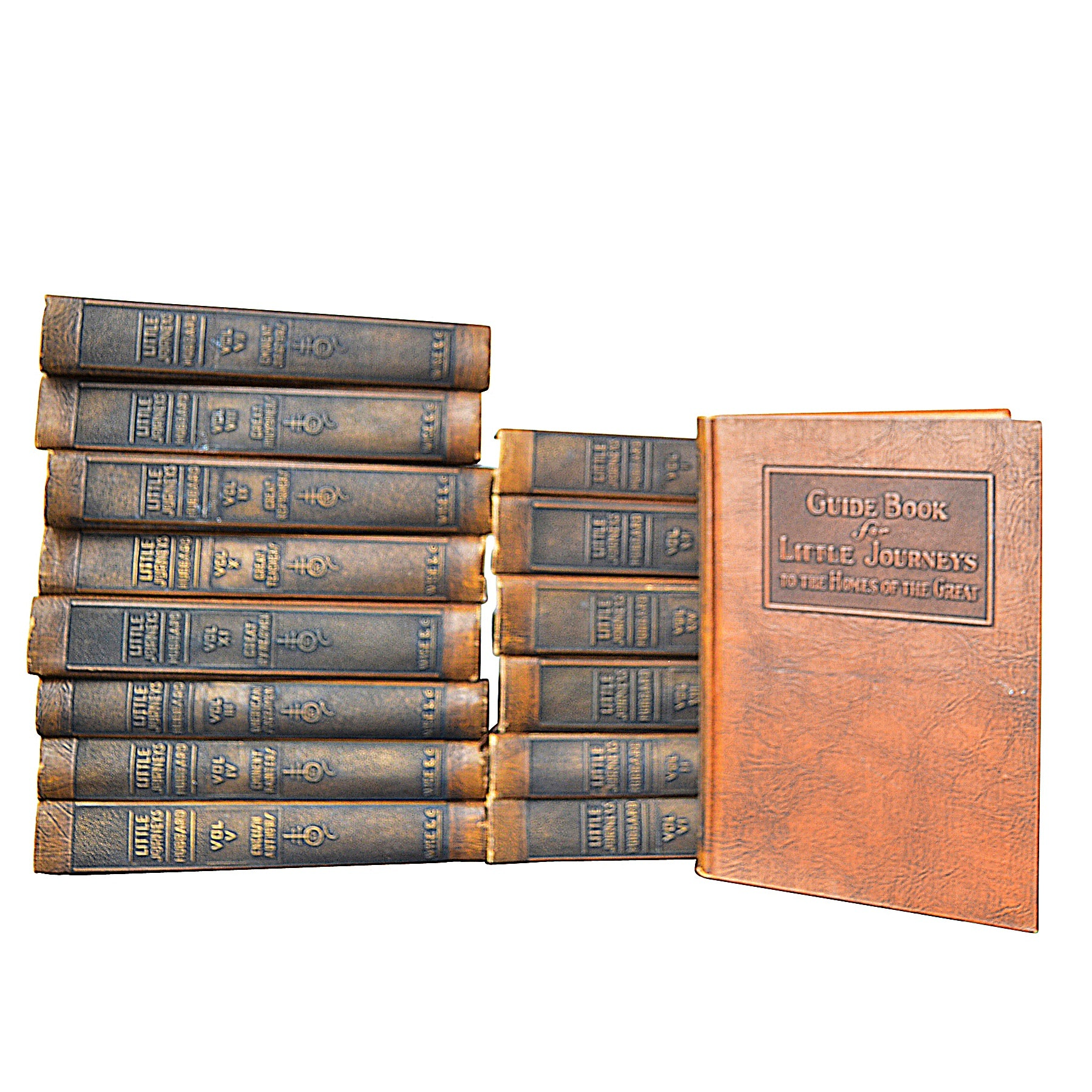 """Little Journeys"" 14 Volume Set by Elbert Hubbard, circa 1928 with Guide Book"