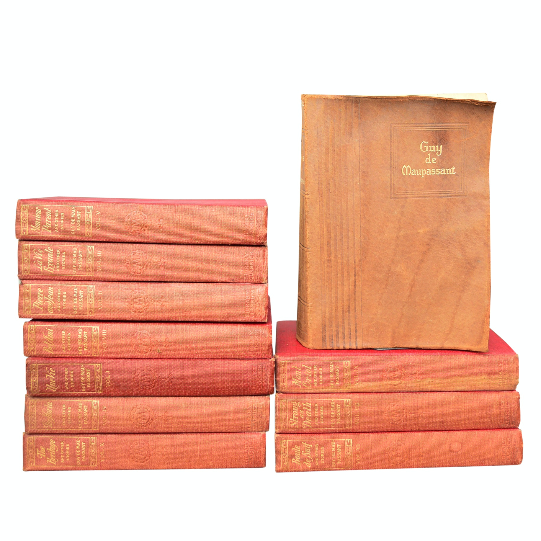 Guy de Maupassant 10 Volume Set, circa 1903 with Suede-Bound Short Story Volume