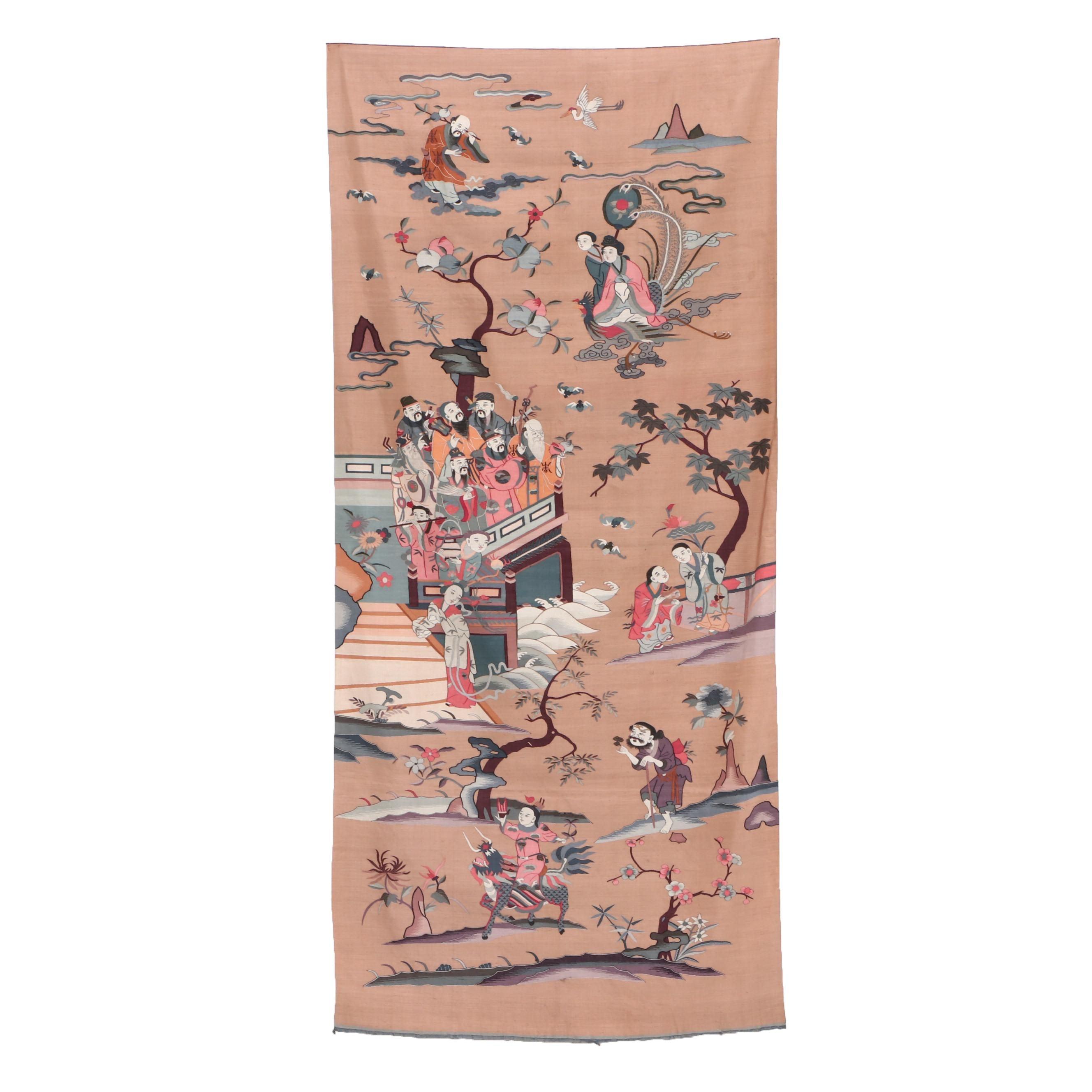 Chinese Kesi Panel with Daoist Immortals, Mid-Century