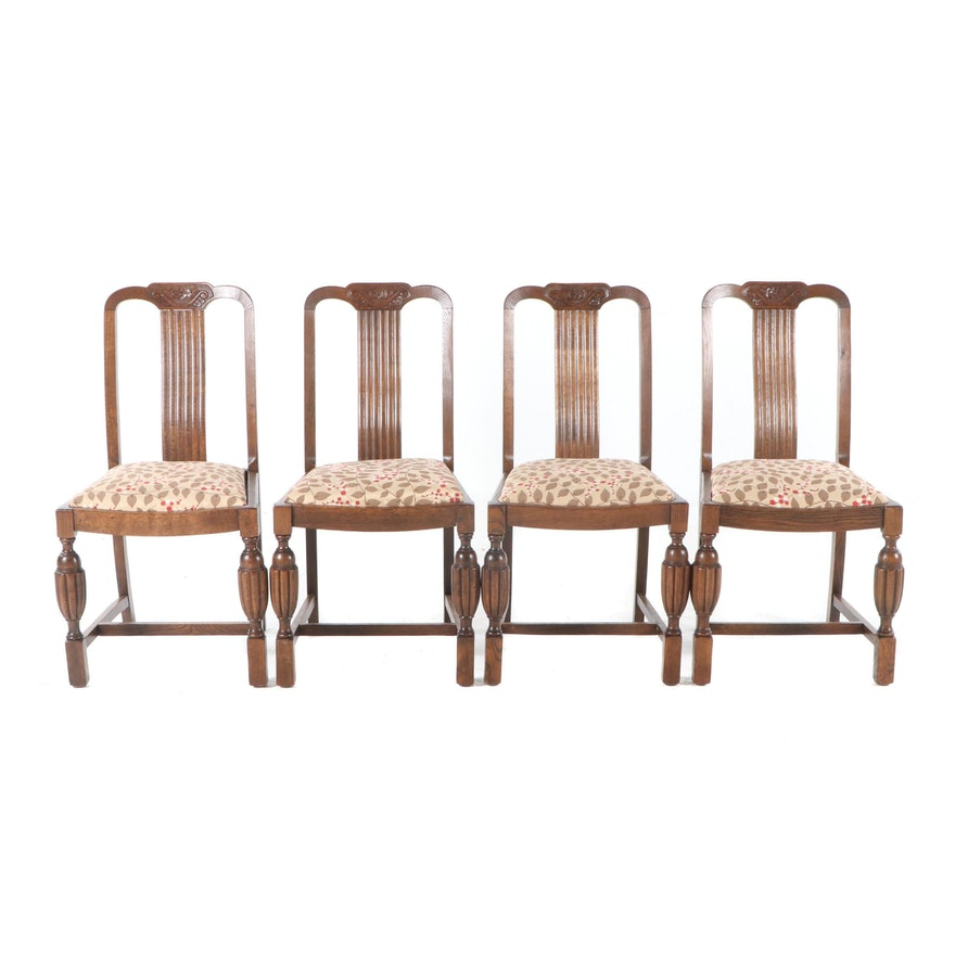 Fantastic Tiger Oak Dining Chairs Early 20Th Century Bralicious Painted Fabric Chair Ideas Braliciousco