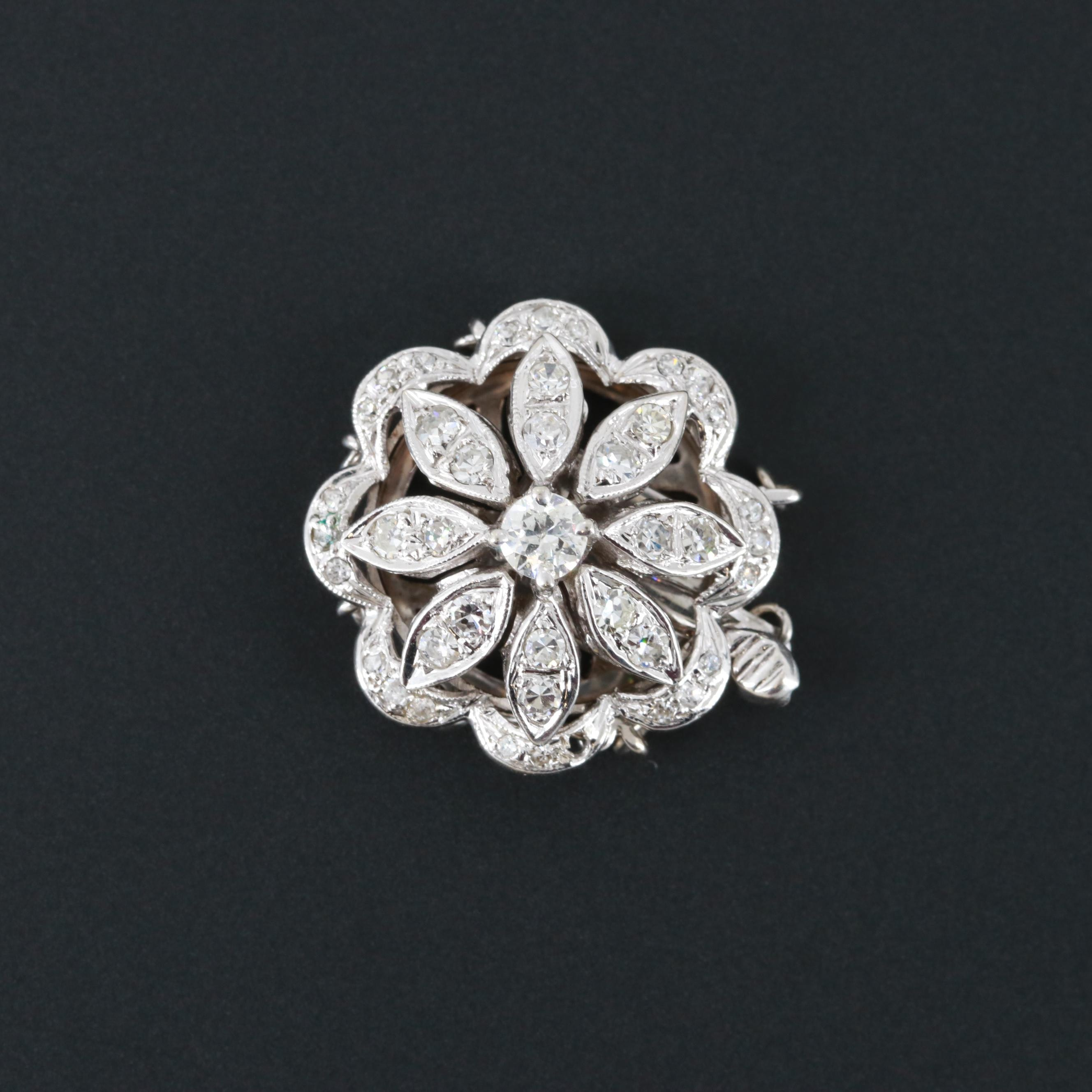14K White Gold Triple-Strand Diamond Jewelry Clasp