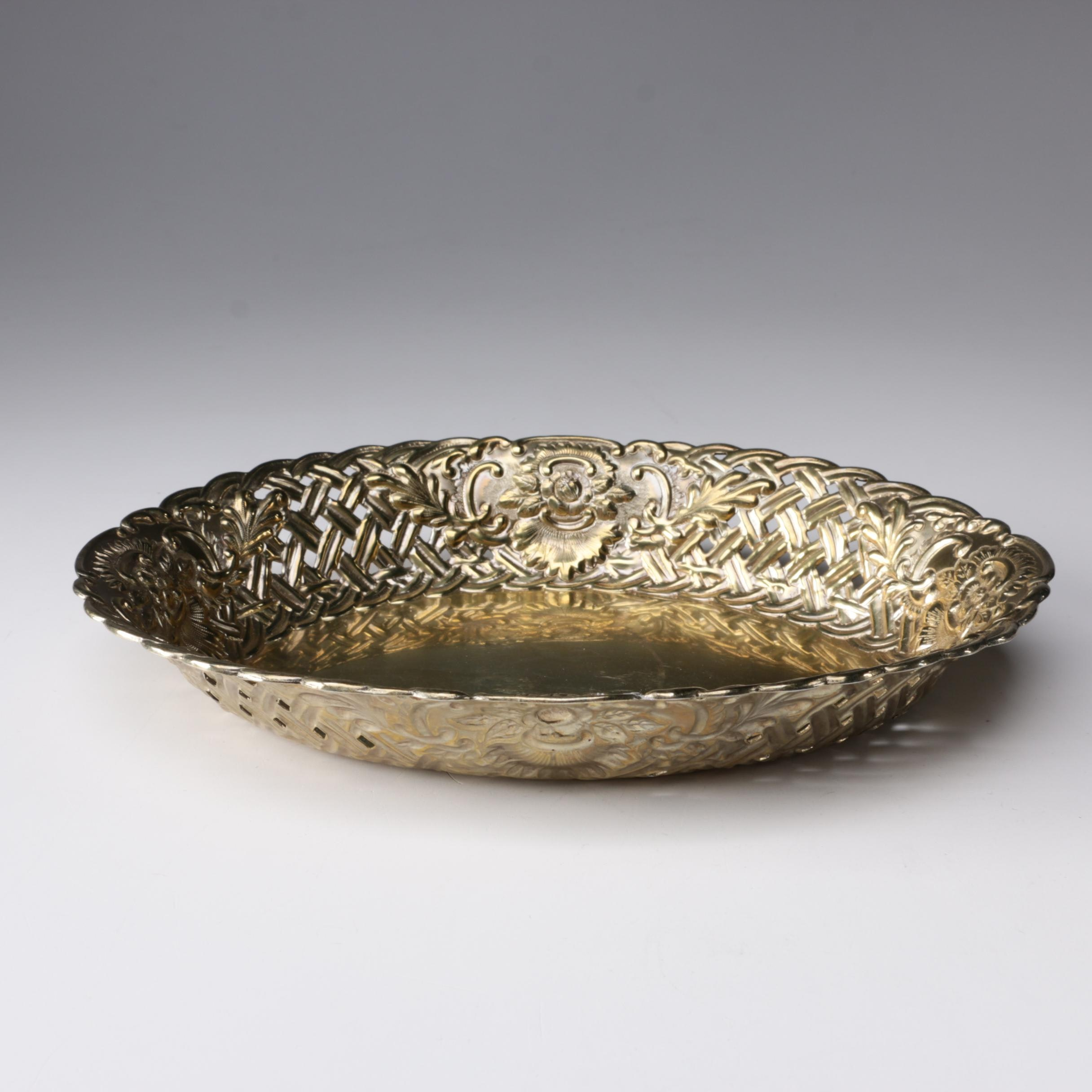 Gorham Sterling and Gold Wash Reticulated Edge Basket Bowl, 1891