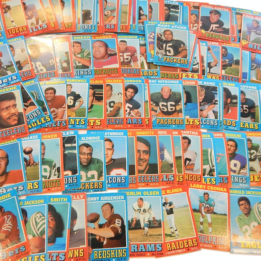 1971 Topps Football Card Lot With Green Rookie Jurgensen Starr Over 100 Count