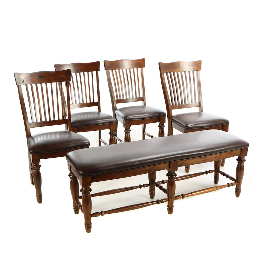 Four Woodbridge Furniture Birch And Faux Leather Dining Side Chairs