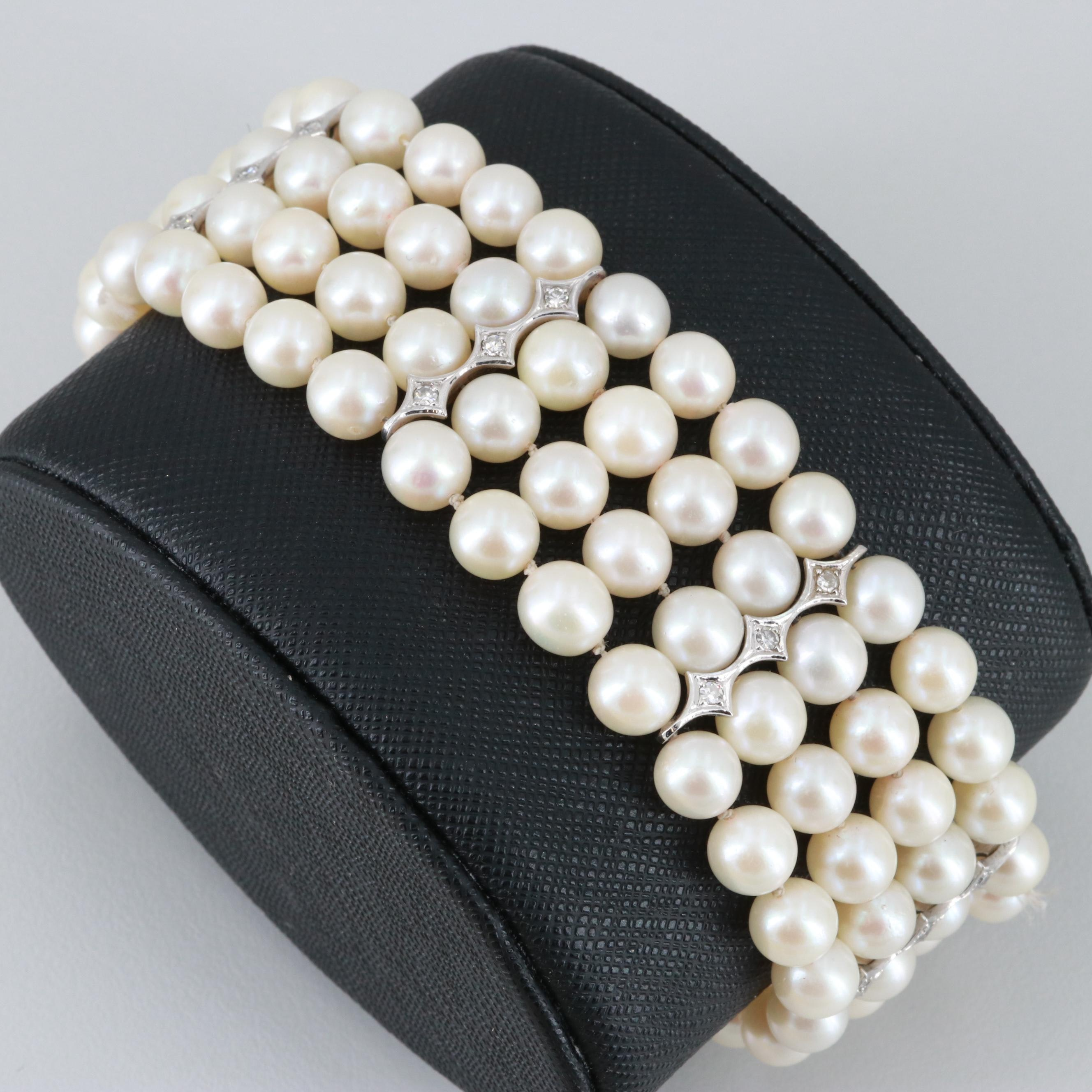 Circa 1950s 14K White Gold Cultured Pearl and Diamond Bracelet