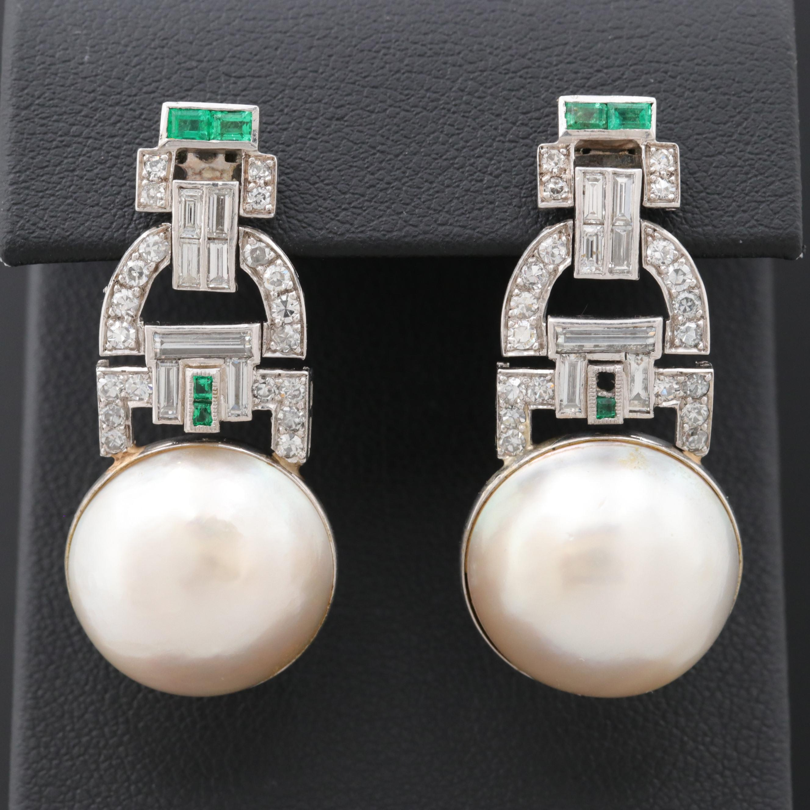 Art Deco Style Platinum Cultured Pearl, Emerald and 1.56 CTW Diamond Earrings