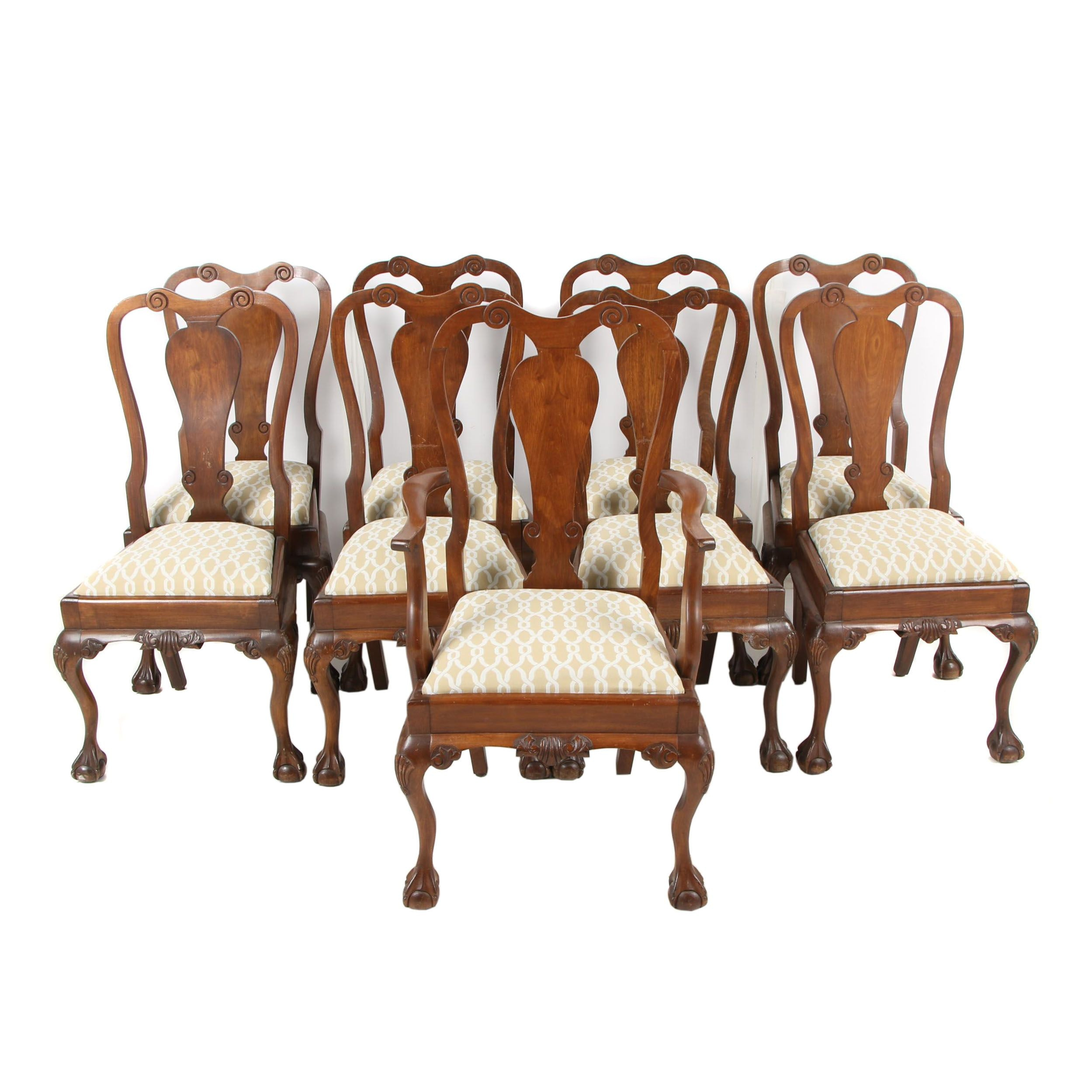 William & Mary Style Dining Chairs with Ball and Claw Feet, 20th Century