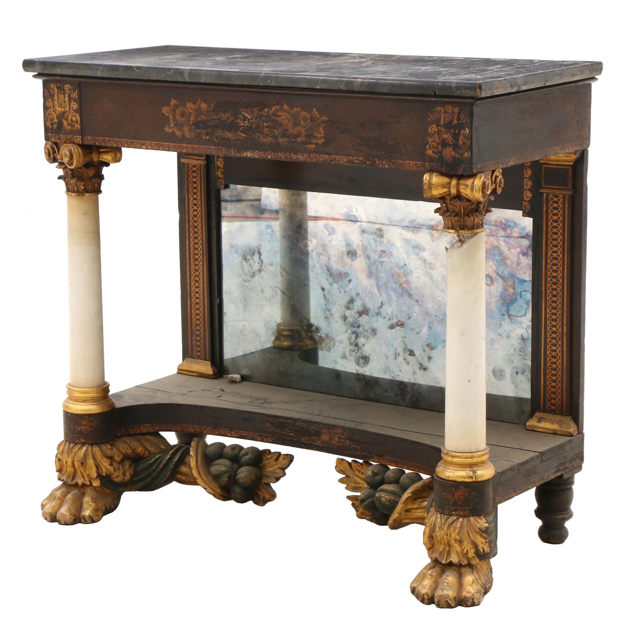 New York Empire Gilt-Stenciled Mahogany and Marble-Top Pier Table, Circa 1825