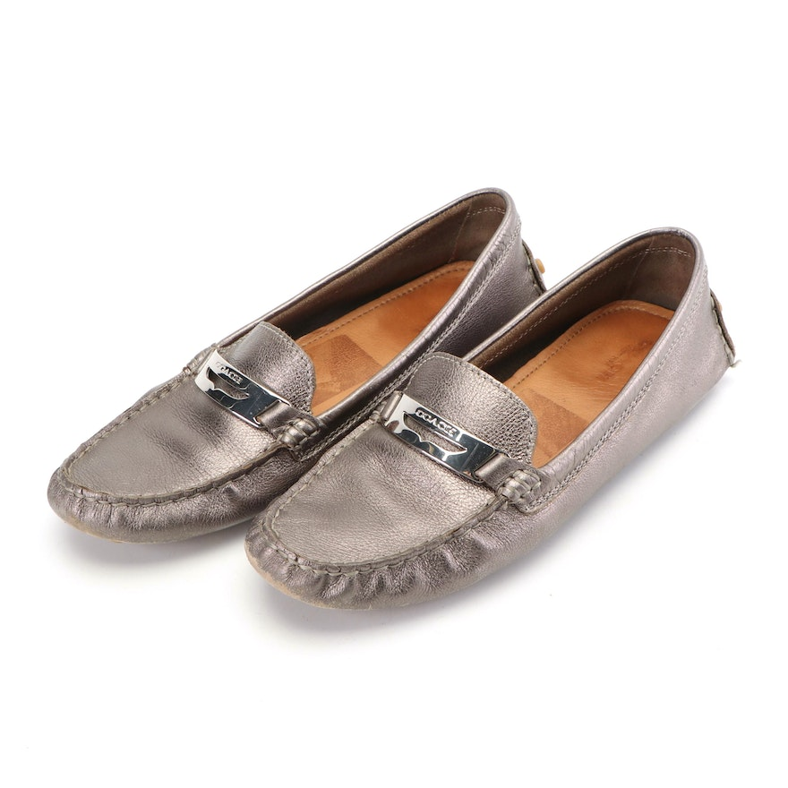 18ddd4d4bb3 Women s Coach Pewter Metallic Leather Loafers   EBTH