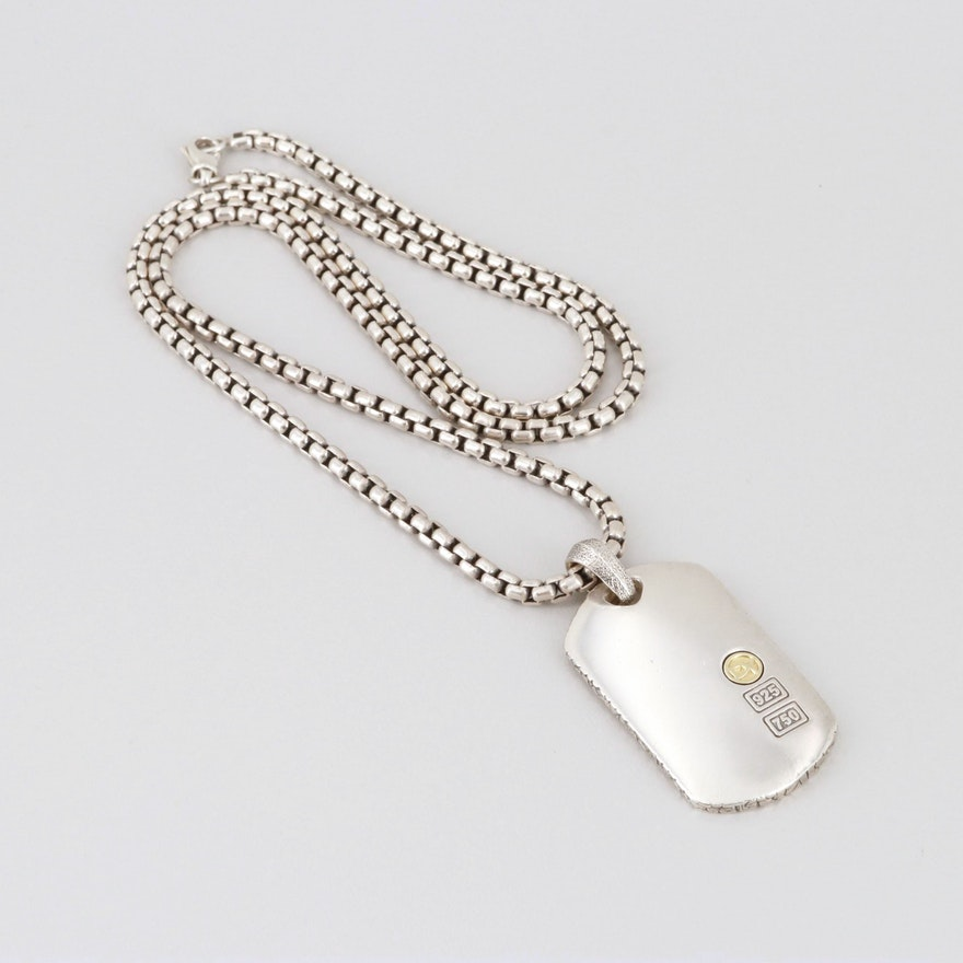 61f22464b28e David Yurman Sterling Silver with 18K Gold Accent Dog Tag Necklace ...
