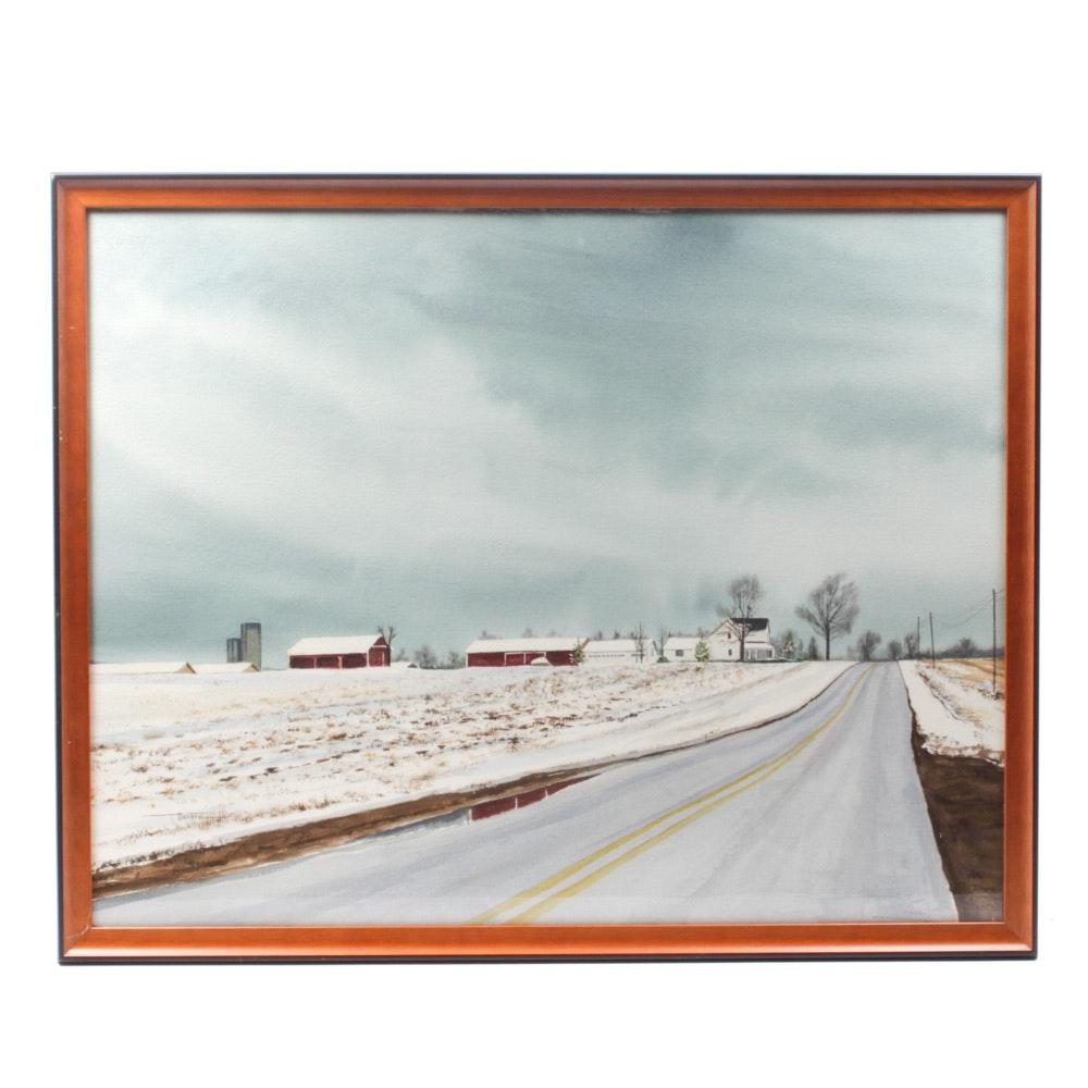 James DeVore Watercolor Painting of a Winter Farmscape