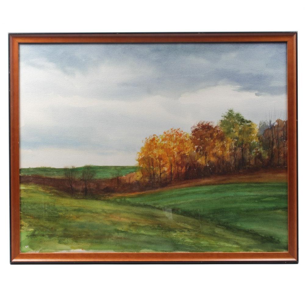 James DeVore Watercolor Painting of an Autumn Landscape