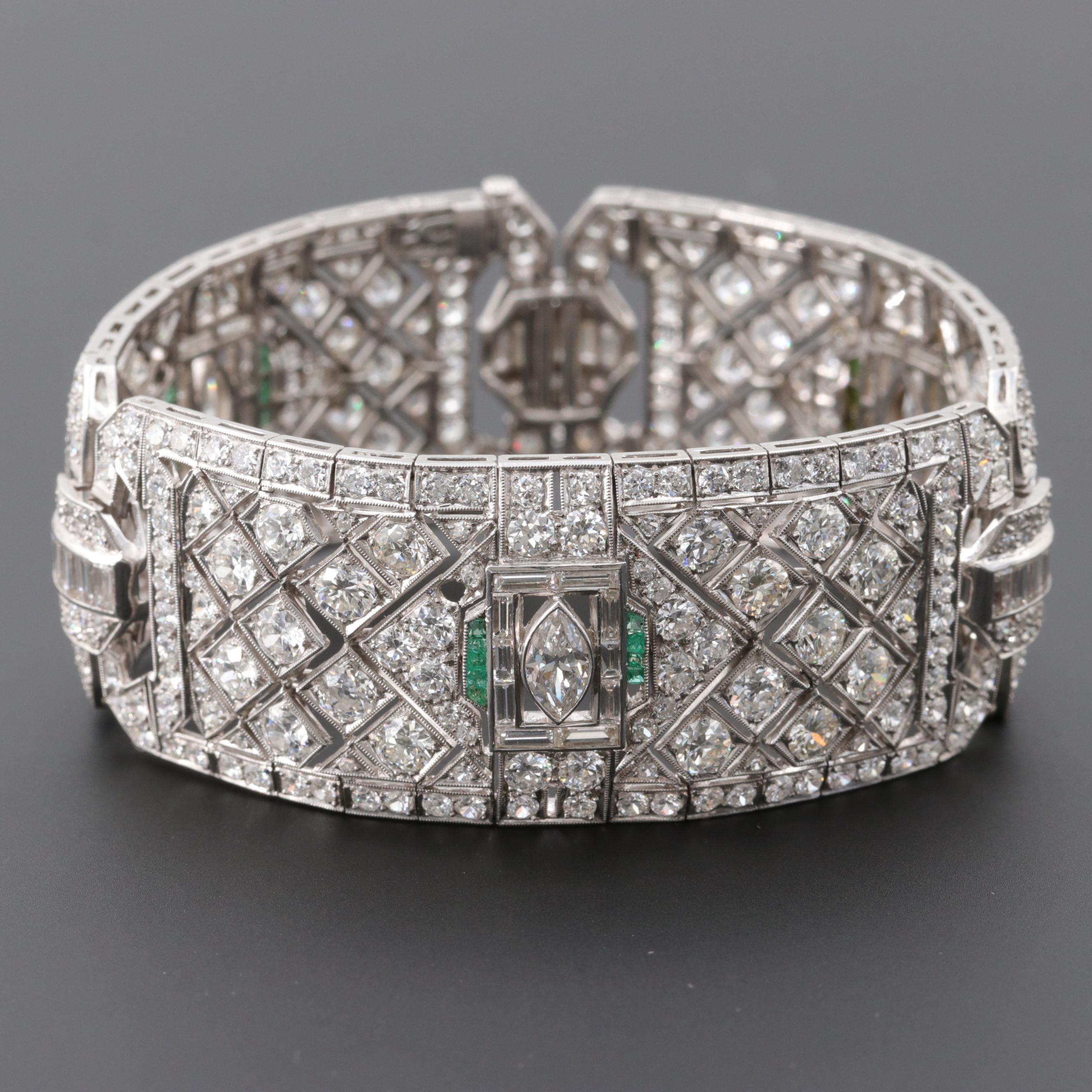 Art Deco Platinum 21.98 CTW Diamond and Emerald Panel Bracelet